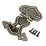 Rétro Bronze antique Cœur Moraillon Lock Loquet Fermoir 63* 48mm avec 4vis pour tiroir Armoire Bijoux Coque Box