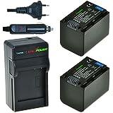 ChiliPower Sony NP-FV70 Kit: 2x Batterie (1900mAh) + Chargeur pour Sony DCR-SR68, SR88, SX45, SX65, SX83, SX85, FDR-AX100, HDR-CX110, CX130, CX150, CX160, CX190, CX220, CX230, CX260V, CX290, CX300, CX305, CX330, CX350V, CX360V, CX380, CX430V, CX560V, CX580V, CX700V, CX760V, CX900, HC9, PJ10, PJ30V, PJ50, PJ230, PJ260V, PJ340, PJ380, PJ430V, PJ580V, PJ650V, PJ710V, PJ760V, PJ790V, PJ810, TD10, TD20V, TD30V, XR160, XR260V, XR350V, XR550V, HXR-NX3D1U, NX30U, NX70U, NEX-VG10, VG30H, VG900