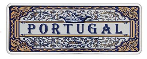 Ocean Plates Classic Azulejo-Portugal Blechschild 6,25x 16,50cm-Produkt Deko mit Parteien in Relief