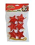 6er Set rote glitzerne Sterne mit Aufhänger Weihnachtsdeko Gesteckdeko Weihnachtssterne