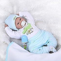 Yesteria Reborn Baby Doll Garçon en Silicone Poupée Nouveau-Née Réaliste DE 55 cm avec Une Tenue Blanche