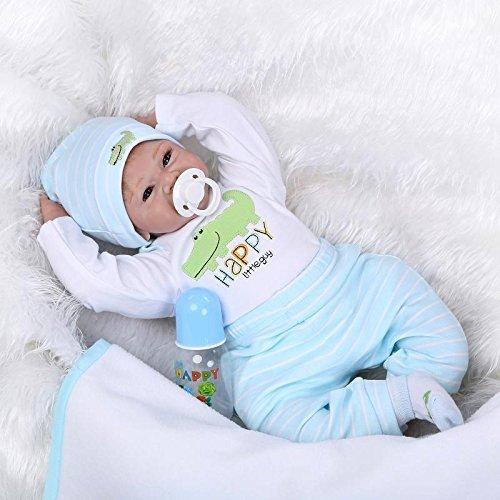 bcb0ac32a1634 Yesteria Reborn Baby Doll Garçon en Silicone Poupée Nouveau-Née Réaliste DE  55 cm avec