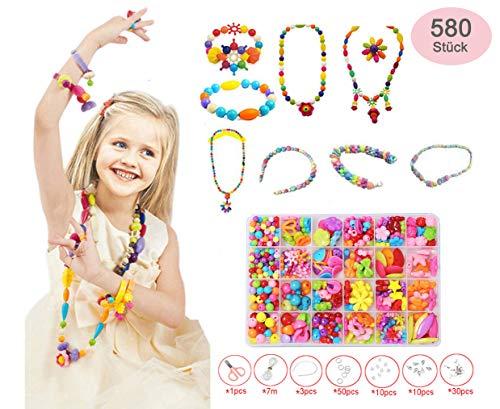Bset Buy 580 Stück Auffädeln Schmuck Perlen Acryl Perlen Zubehör mit Kunststoff-Box, 24 Arten für Kinder und Erwachsene DIY für Halskette Armbänder Stirnband Ring Perlen (Schmuck Aus Perlen)