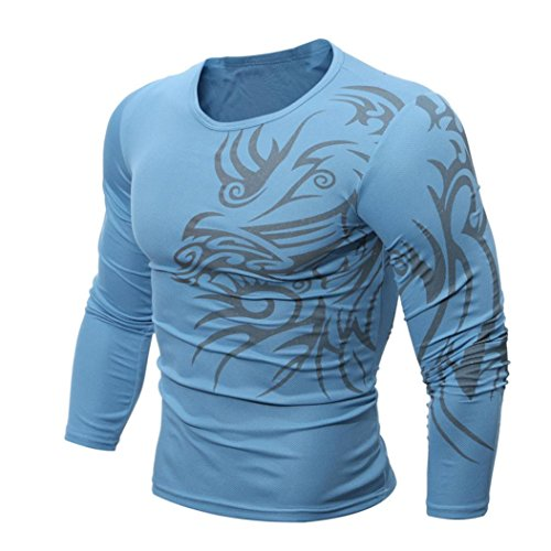Uomo Maglietta Clode® Uomini Moda Stampa Uomo Maniche lunghe Maglietta Blu