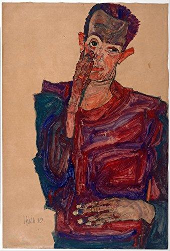 Das Museum Outlet–Egon Schiele–Selbst Hochformat mit Augenlid abgerissen, gespannte Leinwand Galerie verpackt. 50,8x 71,1cm