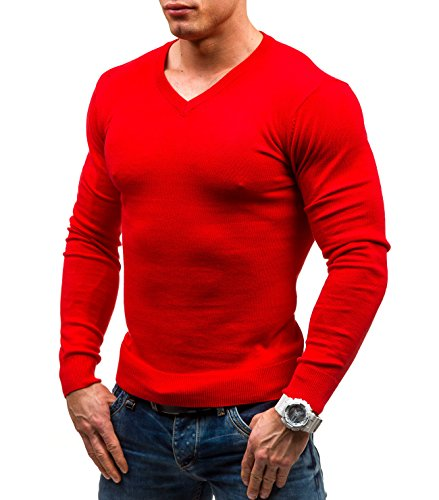 BOLF – Tricot – Pull – V-neck – GLO STORY 1813 – Homme Rouge