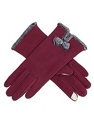 BROADCARE Guantes para dedos con pantalla táctil para mujer - Rojo