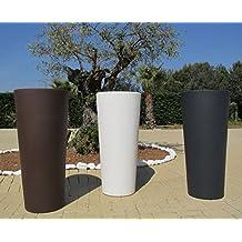 Finest vaso bianco in resina genesis cachepot rotondo alto for Vasi decorativi da interno