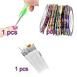 Romote 5 X 2 voies Dotting Pen Marbleizing outil + 15pcs Nail Art Pinceau + Ensemble de 10 cloueuse Striping bande Kit Set