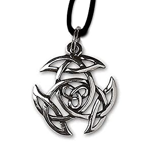 DarkDragon Keltischer Knoten Anhänger Amulett 925er Silber Schmuck Schutzamulett mit Lederhalsband Schmucksäckchen und Karte 162