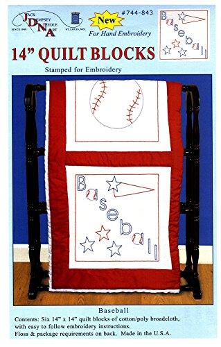 Jack Dempsey Prägung weiß Themed Quilt Blocks, Baseball (Pack von 6)