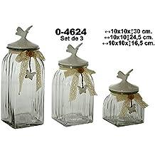 Supernova Decoracion- Set 3 botes de cristal con tapa de cerámica en clor blanco y adornado con encage color beige.Medidas ancho:10*10.Alto 16,5/24,5/30cm