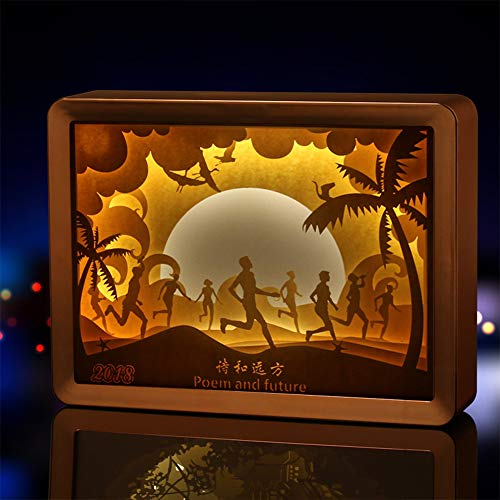 EFGS 3D-Papier Skulptur Lampe, Silhouette Geschnitzt Nacht Hell Warme Romantische Atmosphäre Weihnachten, Gold