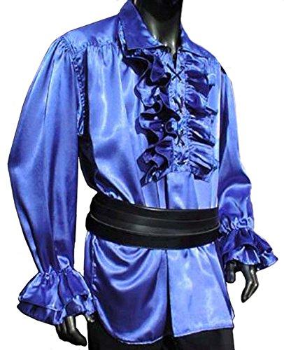 Rüschenhemd mit Kragen, Satin, blau, Größen S - XXL Blau