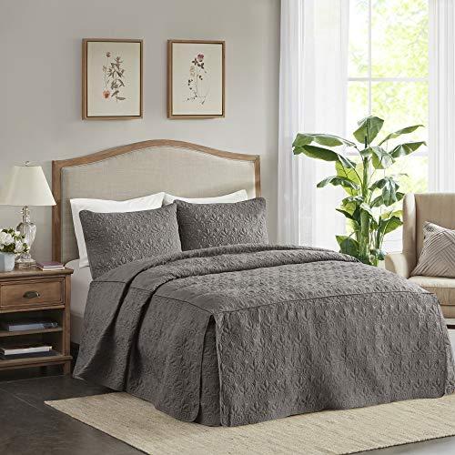 Madison Park Quebec 3 Piece Fitted Bedspread Set, King, Dark Grey -