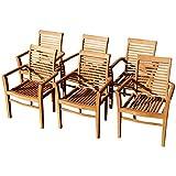 ASS 6Stk Echt Teak Design Gartensessel Gartenstuhl Sessel Holzsessel Gartenmöbel Holz Sehr Robust Modell: 6erJAV-Alpen von