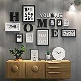 Foto Wand / Fotorahmen Wand / Rahmen Kombination aus Massivholz Fotorahmen kreative dekorative Malerei 5 Zoll 14 Zoll 7 Zoll ( Color : Black and white )