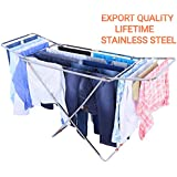 VEEN LIFETIME Stainless Steel Foldable Cloth Stand for Drying Clothes | Cloth Drying Stand for Bedroom | Fold-able Space Saver Stand | Make in India (Rod Stand - Steel)