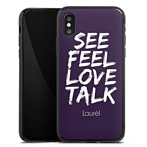 Apple iPhone X Silikon Hülle Case Schutzhülle Laurèl See Feel Love Sprüche Silikon Case schwarz