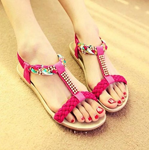 YOUJIA Femmes Bohême Perles Sandales Salomés Peep-Toe Plat Plage Chaussures Tongs Rouge