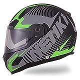Nenki Helme NK-856 Full Face Motorradhelme, Glasfaser Schale,ECE-geprüft, mit Doppelvisieren(Mattschwarz Grün-XL)