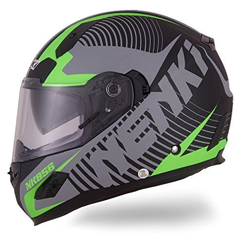 NENKI Casco integrale Moto Motocicletta NK856 con Calotta Esterna in Fibre Composite, omologato ECE, con doppia visiera, Nero Opaco Verde,L(59-60CM)