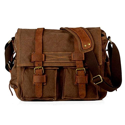e7210e42ad H.G Laptop Bag Mens Vintage Casual Canvas Messenger Bag Men s Military  Leather Canvas Travel Briefcase Crossbody