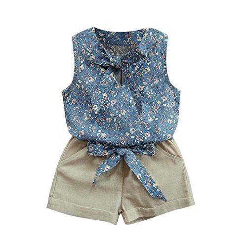 Floral 5'3 (Bekleidung Longra Kleinkind Kinder Baby Mädchen florale Bowknot Weste T-Shirt + Shorts Outfits Kleiderset Sommerkleidung für Kinder Mädchen(2-7Jahre) (120CM 4-5Jahre, Blue))
