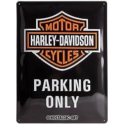 Parking Only Placa Decorativa, Metal, Negro y Naranja, 30 x 40 cm