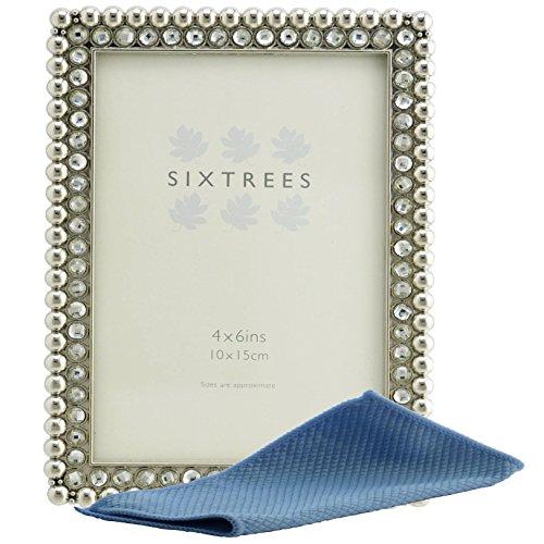 Marco de fotos plateado de Sixtrees, diseño antiguo, estilo shabby chic, con cuentas y cristales,...