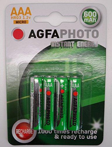 Agfaphoto Pile Aaa rechargeables 600 mAh-Lot de 4–Prêt à l'emploi