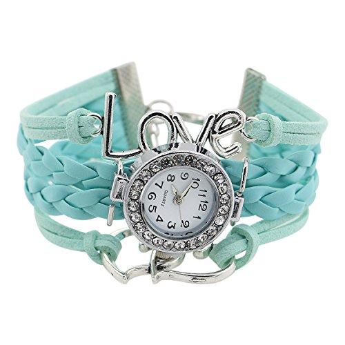 Mädchen Stricken Kunstleder Band Liebes Herz Charment Glass Armbanduhr Hellblau (Stricken Band)