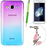 GrandEver 4 in 1 Premium Custodia per Samsung Galaxy J5 UltraSlim TPU Case Morbido Silicone Cover Soft Shell Clear Case Stylish Design + Anti-Dust Plug + Universale Stilo Capacitivo + Schermo Protettori-Graduale Porpora & Blu