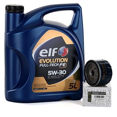 Duo kit Tagliando - Elf Evolution Full Tech 5W-30 5 LTS + Filtro olio originale 8200768913
