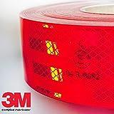 StickersLab Reflektierende 3M-Klebefolie/Klebeband, homologiert, Diamond Grade 983, für die Markierung von Fahrzeugen, rot, weiß oder gelb, Verkauf je Meter 1 Metro rot