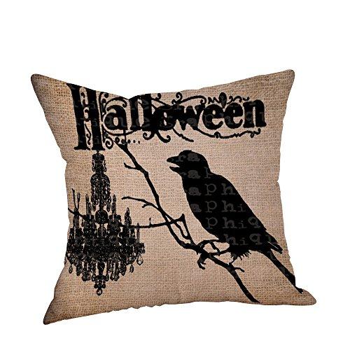 iYmitz Happy Halloween Kissenbezüge Crow Leinen Sofa Kissenbezug Home Decor(B,45cmx45cm)