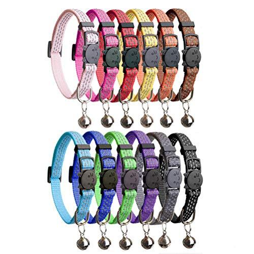 HOMIMP 12PCS Katze Halsbänder Quick Release Reflektierende Sicherheit Nylon Halsbänder mit Glocke 20,3cm-12