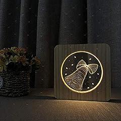 Idea Regalo - Creativo La Campana 3D Lampada Da Notte In Legno Acrilica, Lampada Da Tavolo Usb Visual Stereo A Led, Arredamento Per La Camera Da Letto, Regalo Per Bambini