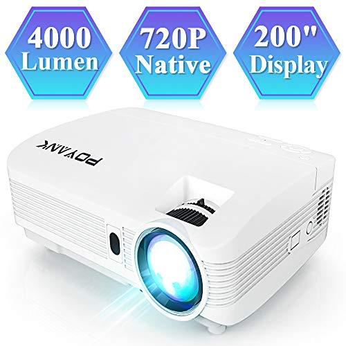 *POYANK V6 Beamer, Full HD Video Projektor, 4000 Lumens Heimkino Beamer, 200 Zoll Projektionsgröße, 60,000 Stunden Lampensdauer, unterstützt TV Stick PC Spiel Konsole Smartphone HDMI VGA USB SD, Weiß.*
