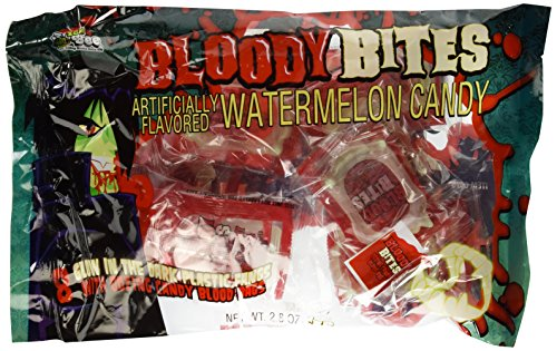 (Bloody Bites Oozing Candy Blood Bags with Glow in the Dark Fangs Watermellon Flavor - 1 Bag of 8 Packs)