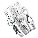 Armband Damen Armbänder DAY.LIN 1PC Unendlichkeits-Liebes-Herz-Perlen-Freundschafts-Antike-Leder-Charme-Armband (H)