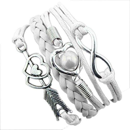 Armband Damen Armbänder DAY.LIN 1PC Unendlichkeits-Liebes-Herz-Perlen-Freundschafts-Antike-Leder-Charme-Armband (H) (Liebe Mann-charme-armband)