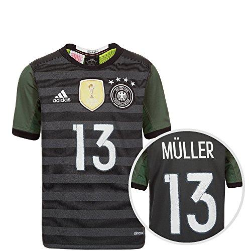 adidas Kinder Dfb Trikot Away Müller EM 2016 Nationalmannschaften, Grau / Weiß / Grün, 176-XL