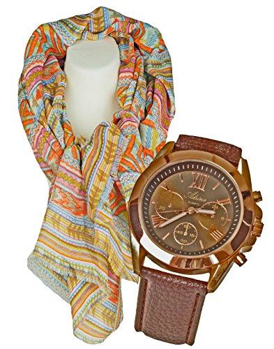 Damenuhr mit Damenschal, Halstuch im Azteken Look, klassisch, elegantes Geschenk- Set,