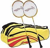 Li-Ning Smash XP 70 Badminton Racquet, Set of 2 (Yellow/Red)