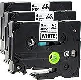 3x Schriftbandkassette für Brother TZe-221 schwarz auf weiß 9mm breit x 8m lang laminiert geeignet für Brother P-Touch 1000W 1010 1090 1830VP 2030VP 2100VP 2430PC 2470 2730VP 7100VP 7600VP H100R H105WB H150WB H300 D200VP D400 D600VP P750W und andere P-Touch Geräte kompatibel zu TZE-221