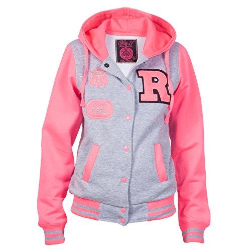 Giacca da donna R Loomiloo College Sweat giacca bizippo di colore nero e grigio con cappuccio disponibile in vari colori Grigio -Rosa S/M
