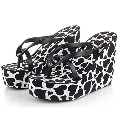 SHANGXIAN à talons hauts des femmes slip-flops Sandales compensées black
