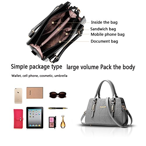 Tisdain Sacchetto di viaggio commovente del raccoglitore delle signore del sacchetto del messaggero della spalla della borsa delle donne della borsa delle donne grigio