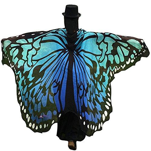 Schmetterling Crochet Kostüm - Verlike Schmetterling Flügel Strandtuch Schal für Frauen Mädchen Weihnachten Halloween-Umhang, Polyester, blau, 197cm x 125cm